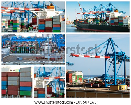 A collage of photos about cargo shipping theme