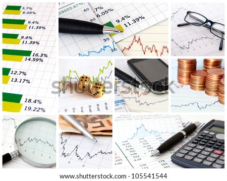 A collage of photos about finance theme