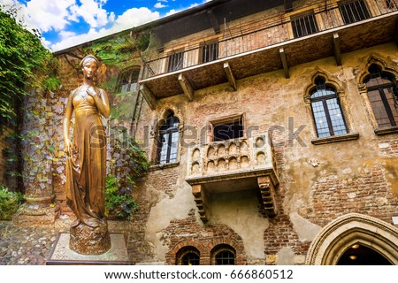 Photo of  A collage of photos of a bronze statue of Juliet and a balcony juliet Verona Italy
