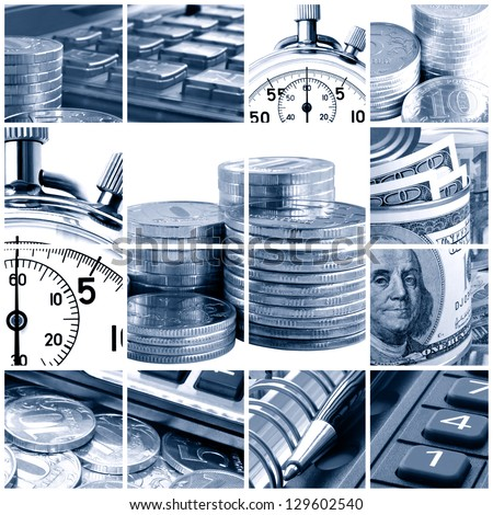 A collage of photos on the subject of business, time and money. Blue tone.
