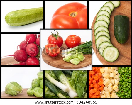 A collage of photos with vegetables. #304248965