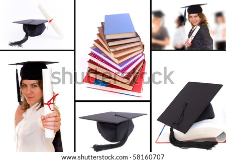A collage of pictures connected with student graduation. Graduation hat, diploma, happy student with diploma