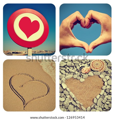 a collage of pictures of different heart-shaped things
