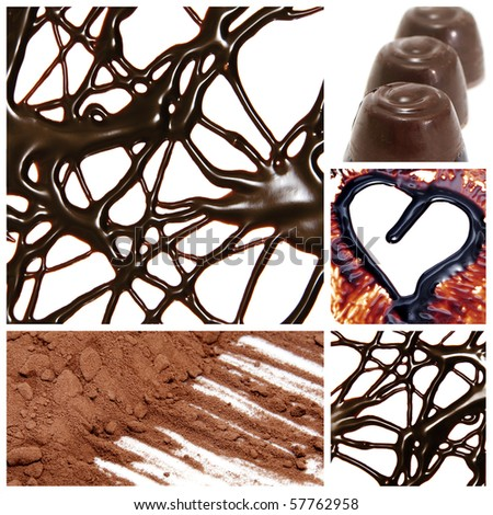 a collage of several pictures of different products made with cocoa
