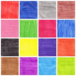 A collage of sixteen colorful background drawing with pencil