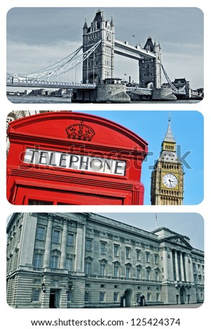a collage of some pictures of different landmarks in London, United Kingdom
