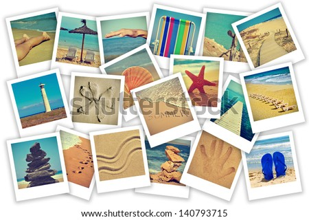 a collage of some pictures of different scenes about summer on the beach concept
