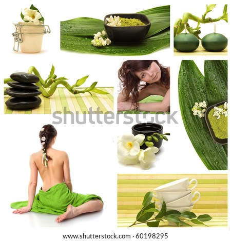 A collage of wellness - spa issues with two beautiful young women and a flower