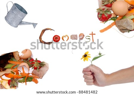 A Collage Representing the Cycle of Compost, with the Word Compost Written in Kitchen Scraps, Isolated on White