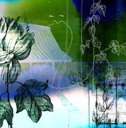 A collage using botanical and architectural elements to construct a balanced composition.