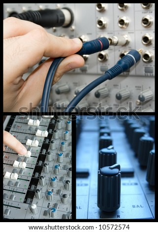 A collage with 3 images of different parts and functions of a mixer.