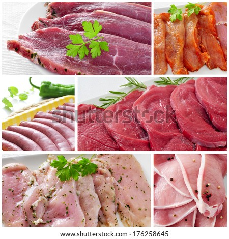a collage with some pictures of different raw meat and sausages
