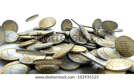 A collapsing pile of various Euro coin tender