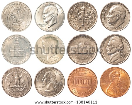 a collection of all the circulating coins in the united states + half dollar & 1 dollar coin - high quality - 6400X4800