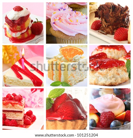A collection of cake and fruit desserts.