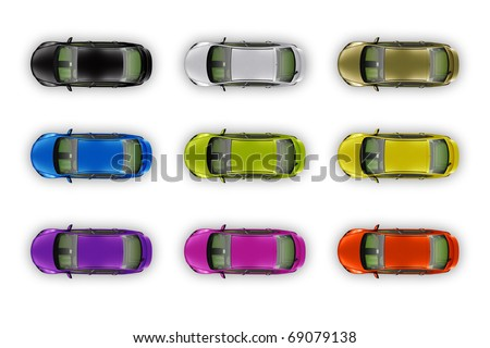 A collection of colorful cars isolated on white