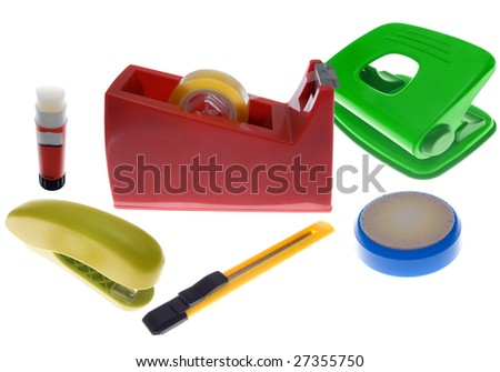 A Collection Of Colorful Office Supplies A Tape Cutter