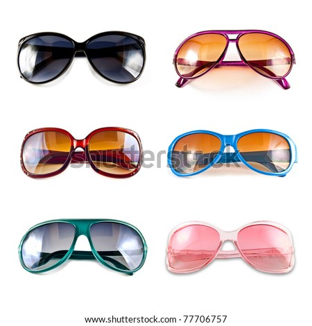 A collection of colorful sunglasses isolated on white background