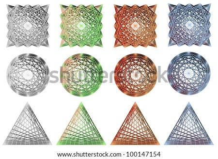 a collection of 3d design elements in different colors / design elements
