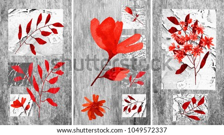 A collection of designer oil paintings. Decoration for the interior. Contemporary abstract art on canvas. Painting with different textures and flowers. Gray with red.