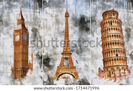 A collection of designer oil paintings. Decoration for the interior. Contemporary abstract art on canvas. A set of pictures with different textures and colors. Pisa, London, Paris.