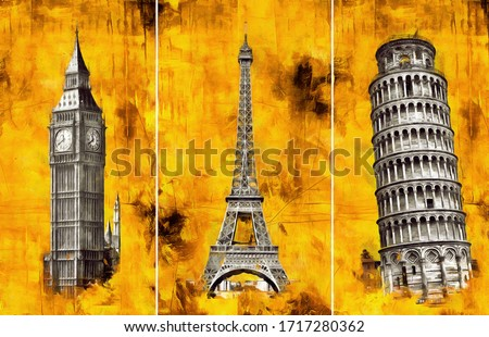 A collection of designer oil paintings. Decoration for the interior. Contemporary abstract art on canvas. A set of pictures with different textures and colors. Pisa, London, Paris. gold background