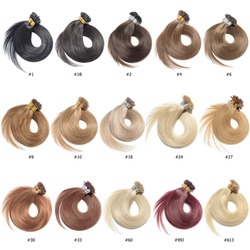 A Collection of Different Colors of Pre Bonded Straight Nail Tip Fusion (U tip) Human Hair Extensions, Hair Base Color Palette, Hair Colors chart