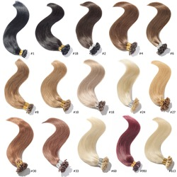 A Collection of Different Colors of Pre-bonded Straight Nail Tip Fusion (U tip) Human Hair Extensions, Hair Base Color Palette, Hair Colors chart