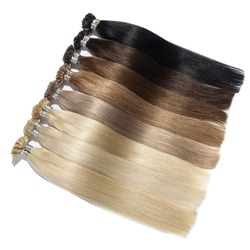 A Collection of Different Colors of Pre Bonded Straight Stick Nail Tip (U tip fusion) Human Hair Extensions