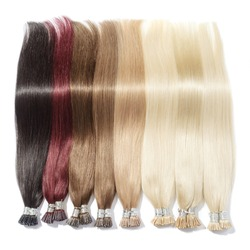 A Collection of Different Colors of Pre Bonded Straight Stick Tip Fusion (i tip) Human Hair Extensions