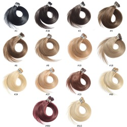 A Collection of Different Colors of Pre Bonded Straight Stick Tip Fusion (i tip) Human Hair Extensions, Hair Base Color Palette, Hair Colors chart
