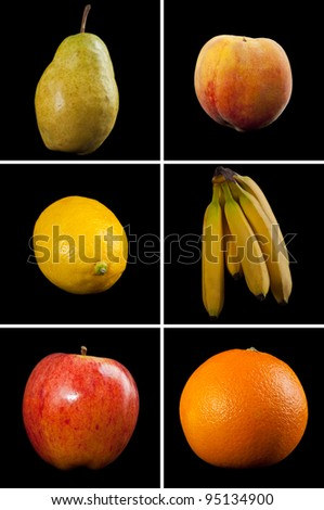 A collection of 6 different fruits photographed on black for extra drama.