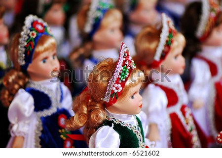 A collection of dolls in traditional Hungarian clothing