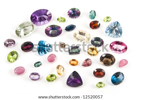 A collection of faceted gemstones