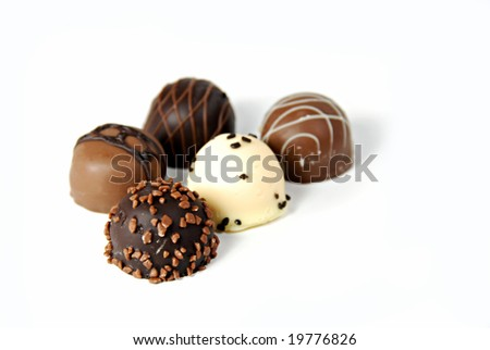 A collection of  fine dark, milk, and white chocolates
