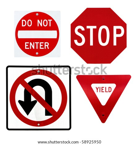A collection of four common traffic signs