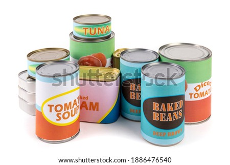 a collection of generic labelled food tins or cans, tomatoes, beans, tuna and soup isolated on white Stock photo ©