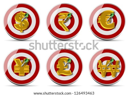 A collection of golden currency symbols pinned to target with a dart / Currencies target set