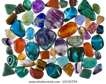 A collection of grinded precious stones used for collection, jewels and alternative healing practices (crystal healing) #10130704