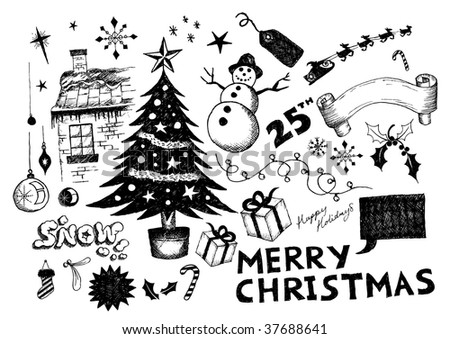 A collection of hand-drawn christmas elements!
