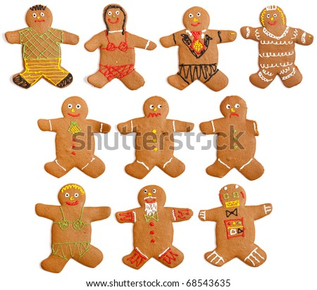 A collection of 10 home made gingerbread people.  Featuring: Boy in shorts, girl in bikini, groom, bride, happy man, worried man, sad man with one arm, blonde in bikini, old man, robot.