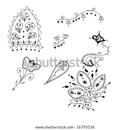 Hena on Collection Of Illustrated Henna Designs Stock Photo 16793536