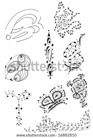 stock photo A collection of illustrated henna designs