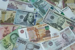 A collection of  international currencies. Dollar bill, Bank note. Money Exchange Finance Business concept.