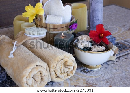 a collection of items at health spa