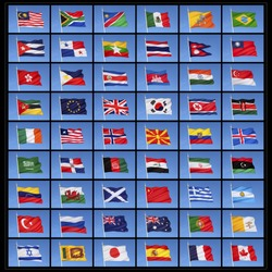 A collection of national flags from countries around the world.