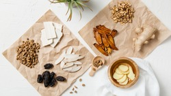 A collection of natural raw herbal ingredients as part of an herbal tonic formula used in Traditional Chinese Medicine (TCM) for cold and flu.
