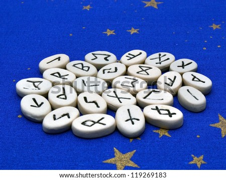 A collection of Norse rune stones, used in divination and magic
