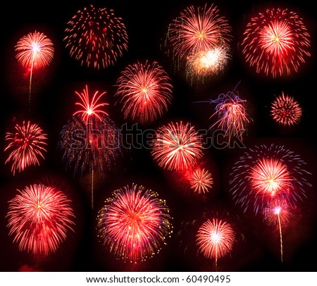 A Collection of Red Fireworks on a black Background