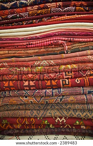 A collection of rugs in Marrakesh, Morocco.